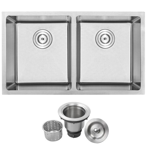 Phoenix PLZ 15 Stainless Steel Double Bowl Undermount Square Kitchen Bar  Sink