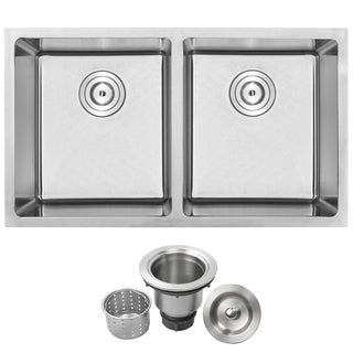Phoenix PLZ-15 Stainless Steel Double Bowl Undermount Square Kitchen Bar Sink