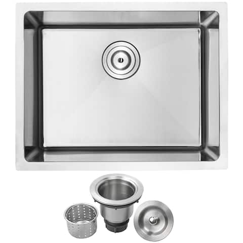 "23"" Ticor PLZ-10 Arlo Series 18-Gauge Stainless Steel Undermount Single Basin Kitchen Sink - Satin Brushed"
