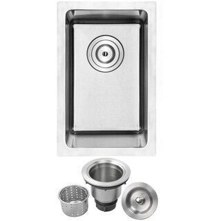 "12"" Ticor PLZ-03 Arlo Series 18-Gauge Stainless Steel Undermount Single Basin Kitchen and Bar Sink"