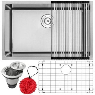 "28"" Phoenix PLZ-24 Arlo Series 18-Gauge Stainless Steel Undermount Single Basin Kitchen Sink with Accessories"