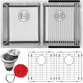 Phoenix PLZ-15-KIT Stainless Steel Double Bowl Undermount Square Kitchen Bar Sink