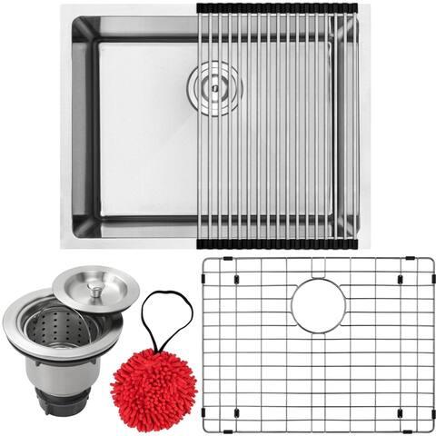 "23"" Ticor PLZ-10 Arlo Series 18-Gauge Stainless Steel Undermount Single Basin Kitchen Sink with Accessories"