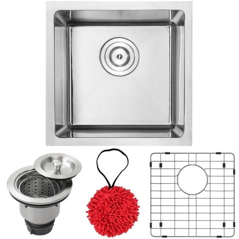 "16"" Phoenix PLZ-05 Arlo Series 18-Gauge Stainless Steel Undermount Single Basin Kitchen and Bar Sink with Accessories"
