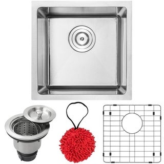 "16"" Phoenix PLZ-05 Arlo Series 18-Gauge Stainless Steel Undermount Single Basin Kitchen and Bar Sink with Accessories"
