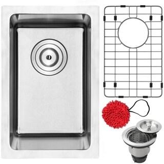 "12"" Phoenix PLZ-03 Arlo Series 18-Gauge Stainless Steel Undermount Single Basin Kitchen and Bar Sink with Accessories"