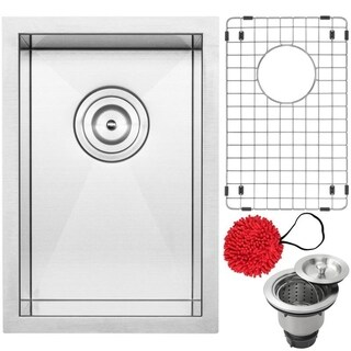 "12"" Ticor S3610 Pacific Series 16-Gauge Stainless Steel Undermount Zero Radius Kitchen and Bar Sink with Accessories"