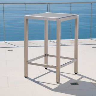 Cape Coral Outdoor Aluminum Bar Table with Glass Top (Table Only) by Christopher Knight Home - Silver