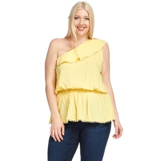 Hadari Women's Plus Size Casual One Shoulder Ruffle Blouse Top