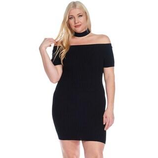 Hadari Women's Plus Size Choker Fitted Ribbed Knit Mini Dress