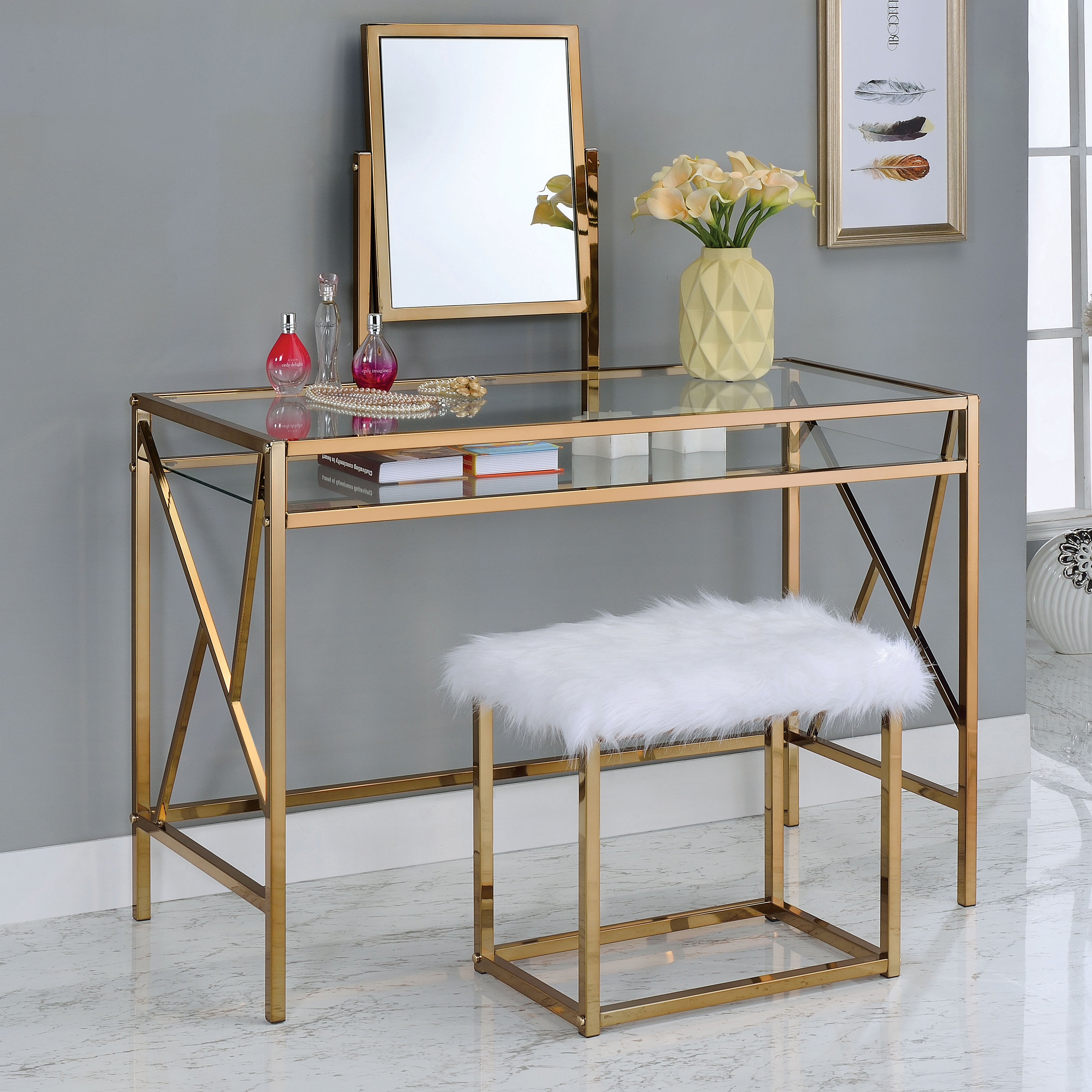 Two Piece Vanity Sets: Furniture Of America Ailees Contemporary Glam 2-piece