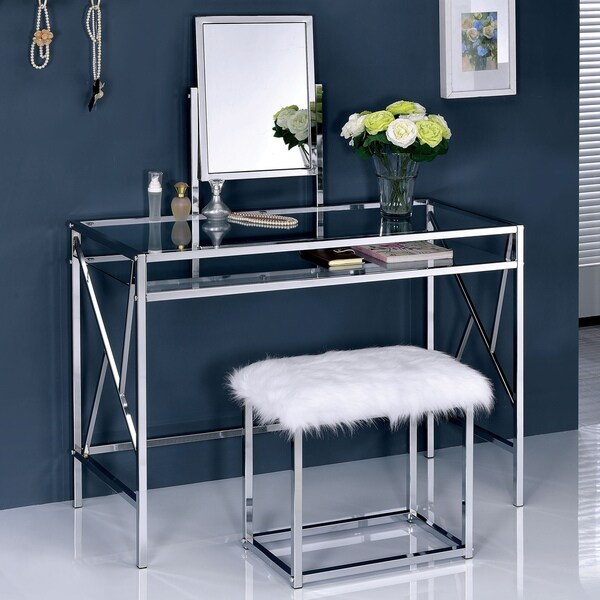 Furniture of America Ailees Metal Glass Contemporary Glam 2-piece Vanity Table Set with Faux & Shop Furniture of America Ailees Metal Glass Contemporary Glam 2 ...