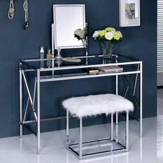 Furniture of America Ailees Metal Glass Contemporary Glam 2-piece Vanity Table Set with Faux Fur Stool