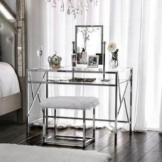 Furniture Of America Ailees Metal Glass Contemporary Glam 2 Piece Vanity  Table Set With Faux