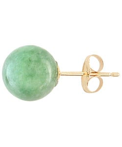 Kabella 14k Yellow Gold Natural Green Jade Stud Earrings
