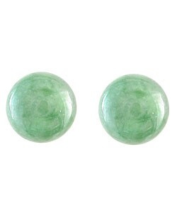 Kabella 14k Gold Green Jade 8mm Ball Stud Earrings