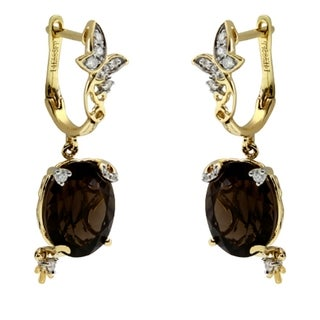 iNatemy 14K Yellow Gold, Quart and Diamonds Earrings