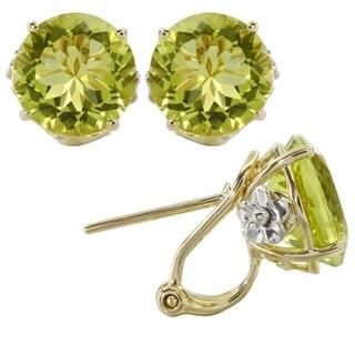 iNatemy 14K Two Tone Gold, Lemon Quartz Round Shaped Earrings