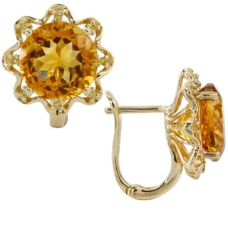 iNatemy 14K Yellow Gold, Citrine and Diamonds Flower Shaped Earrings