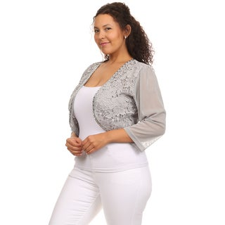 Hadari Women's Plus Size 3/4 Sleeve Floral Crochet Shrug Cropped Bolero Jacket