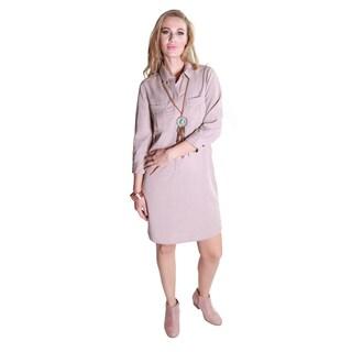Hadari Women's Casual Collar Button Front Dress