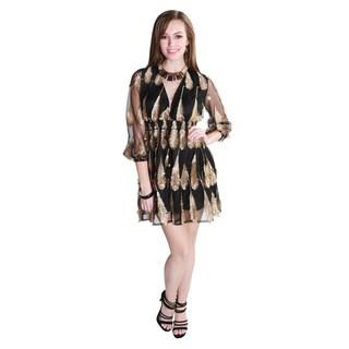 Hadari Women's Feather Print Mini Shift Dress
