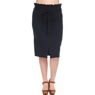 Hadari Women's Plus Size Slit Pleated Pencil Skirt with Belt