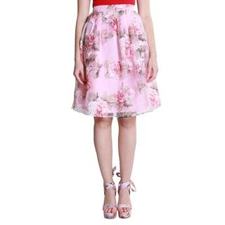 Hadari Women's Casual Floral Print Midi Skirt