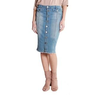 Hadari Women's Casual Pencil Midi Denim Skirt