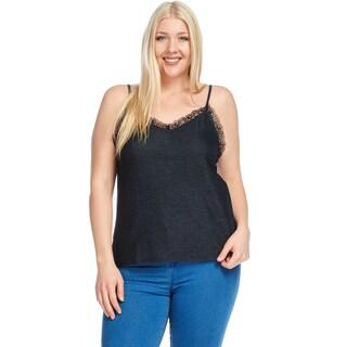 Hadari Women's Plus Size Spaghetti Strap Lace Trim Cami Tank Top