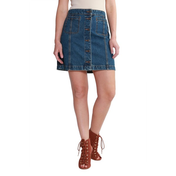 Hadari Women's Casual Button Down Short Denim Skirt