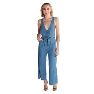 Hadari Women's Sleeveless Denim Jumpsuit