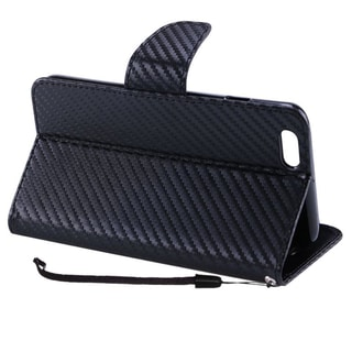Insten Carbon Fiber Leather Case Cover Lanyard with Stand For Apple iPhone 7 Plus