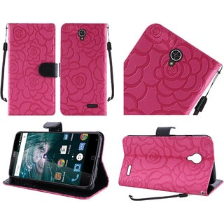 Insten Roses Leather Case Cover Lanyard with Stand For ZTE Warp 7