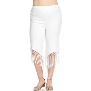 Hadari Women's Plus Size Stylish Sexy Elastic Fringe Crop Pants