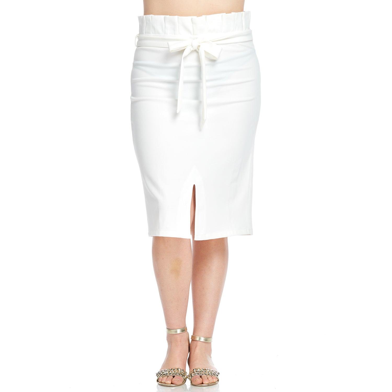 Hadari Women's Plus Size Slit Pleated Pencil Skirt with B...