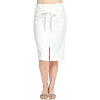 Hadari Women's Plus Size Slit Pleated Pencil Skirt with Belt