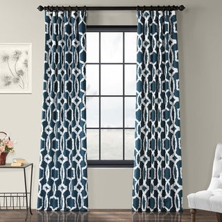 Exclusive Fabrics Lyons Cotton Printed Curtain Panel (50 x 120 - lyons blue)