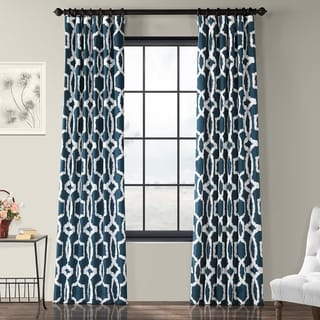 Exclusive Fabrics Lyons Cotton Printed Curtain Panel (50 X 96 - lyons blue)