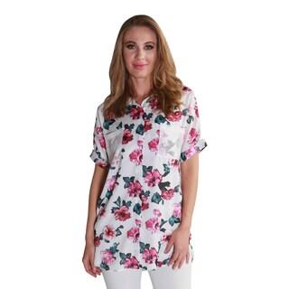Hadari Women's Collar Floral Print Blouse Shirt Top