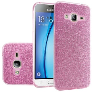 Insten Hard Snap-on Dual Layer Hybrid Glitter Case Cover For Samsung Galaxy Amp Prime/ J3 (2016)/ Sky/ Sol