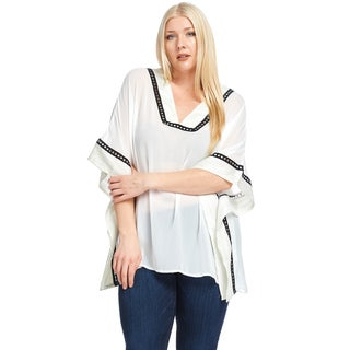 Hadari Women's Plus Size Casual Crochet Poncho Tunic Top