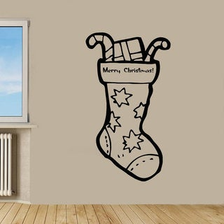Merry Christmas Wall Words Christmas Sock Kids Home Vinyl Art Wall Decor Nursery Room Decor Sticker