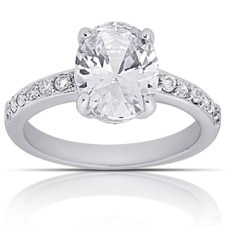 Dolce Giavonna Silver Overlay Oval Cubic Zirconia Solitaire Engagement Ring