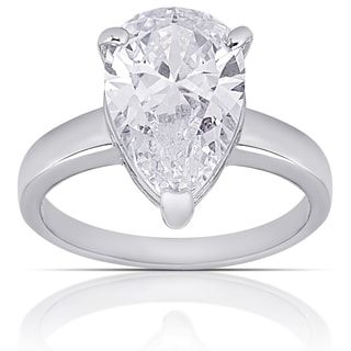 Dolce Giavonna Silver Overlay Cubic Zirconia Solitaire Ring
