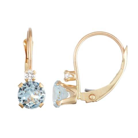 Gioelli 10k Yellow Gold Created Aquamarine and Zircon Leverback Earrings