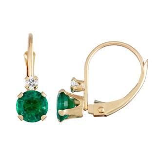 Gioelli 10k Yellow Gold Gold Created Emerald Leverback Earrings