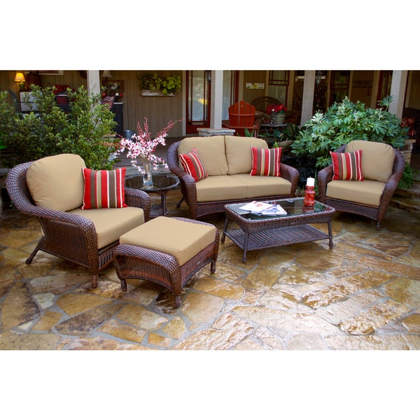 Lexington Brown Wicker Outdoor 6 Piece Patio Furniture Set With Cushions