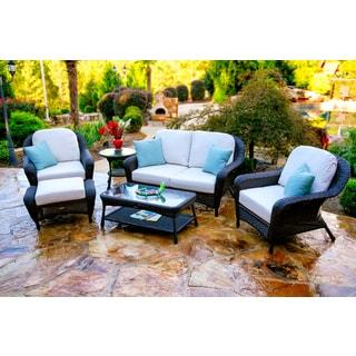 Lexington Dark Wicker Outdoor 6-Piece Patio Furniture Set with Cushions