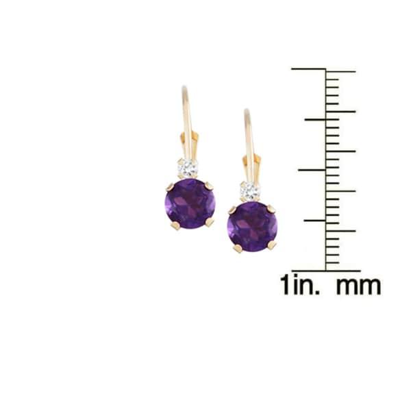 Gioelli 10k Gold Amethyst and White Zircon Leverback Earrings